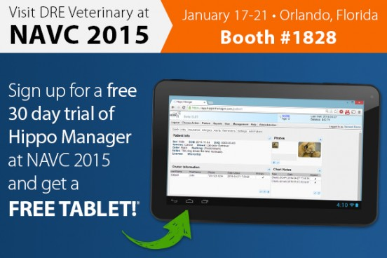 Sign up for a free 30 day trial of Hippo Manager at NAVC 2015 and get a FREE tablet!